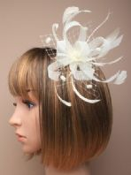 Ivory Ribbon and Pom Pom Fascinator